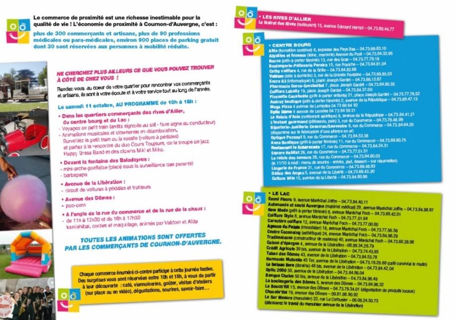 Journée Nationale du Commerce de proximité et de l'Artisanat du centre ville COURNON
